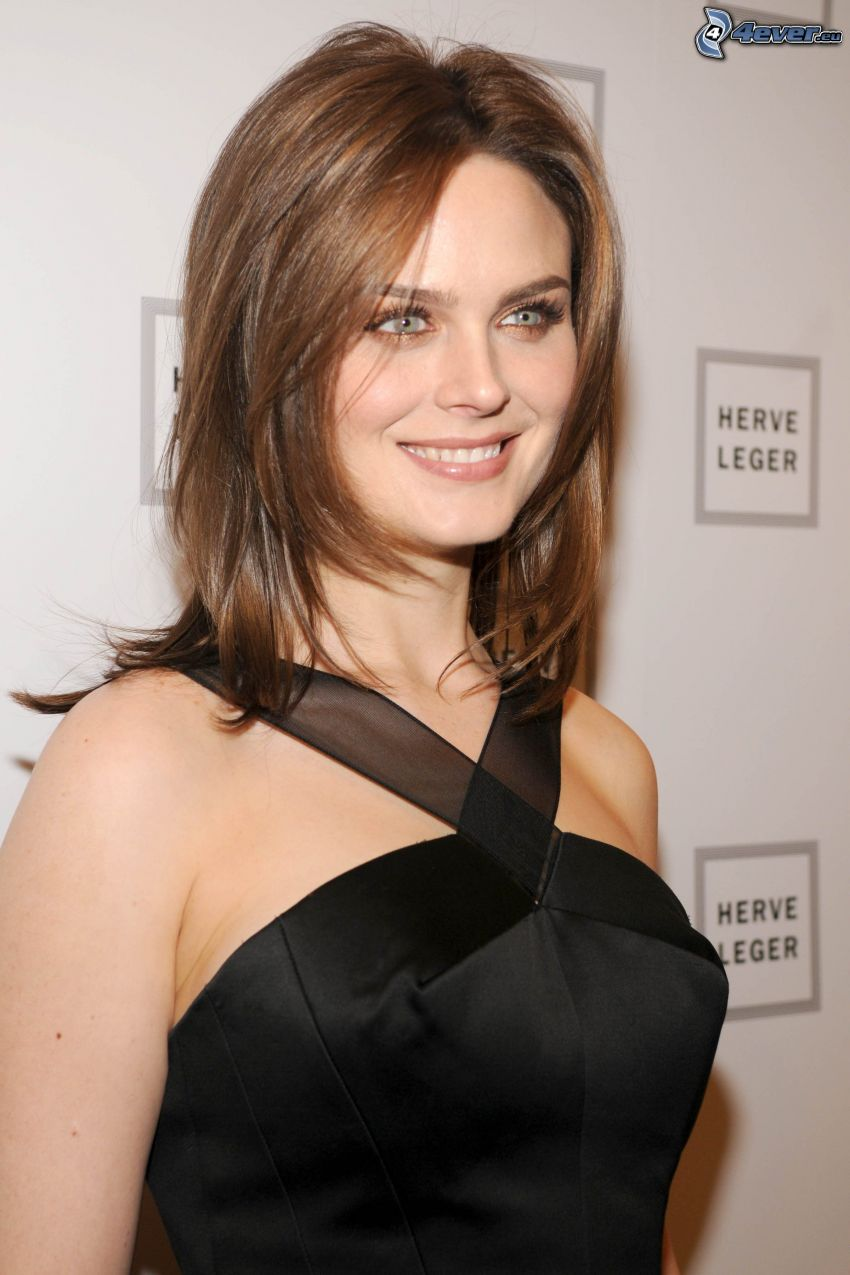 Emily Deschanel, smile, black dress