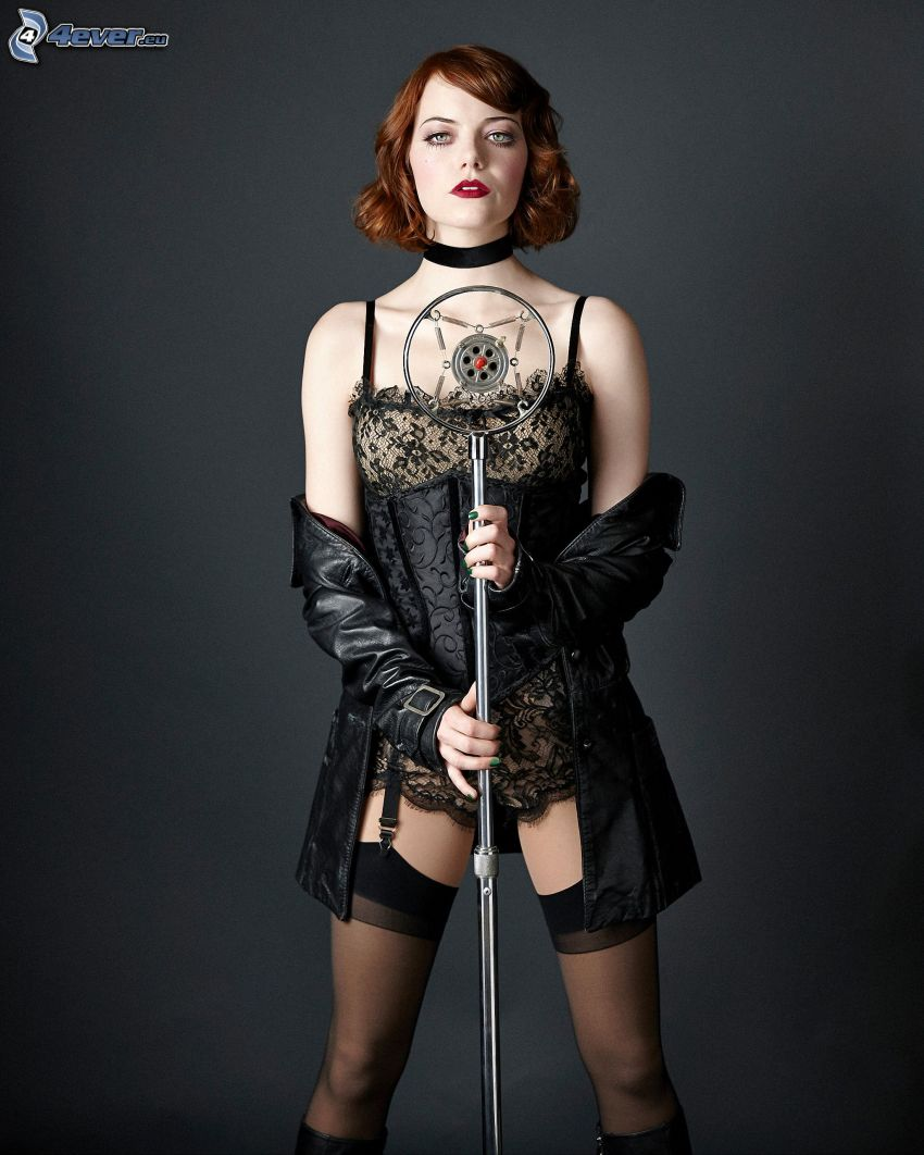 Emma Stone, black dress, garters, microphone