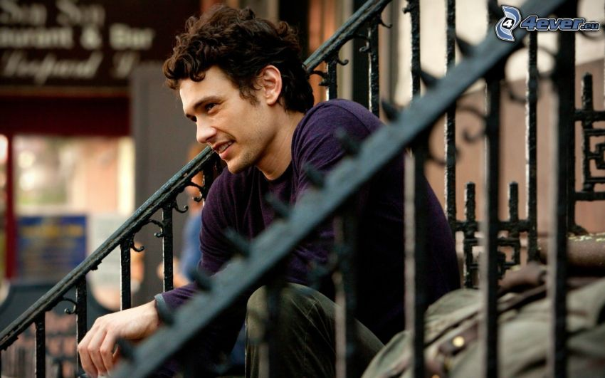 James Franco, stairs, railing
