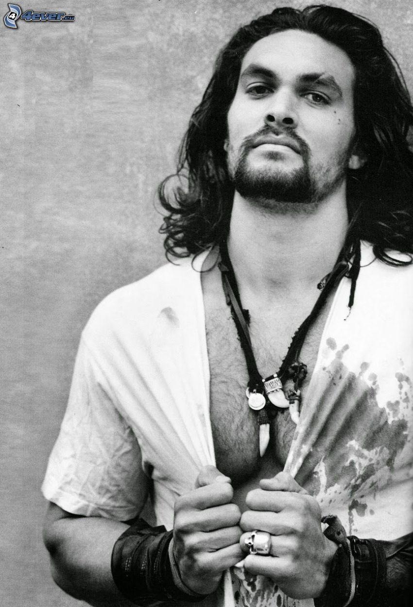 Jason Momoa, black and white photo