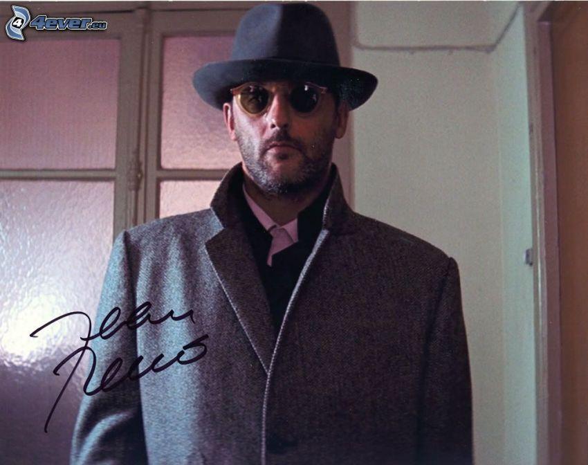 Jean Reno, a man in hat, coat, signature, autograph