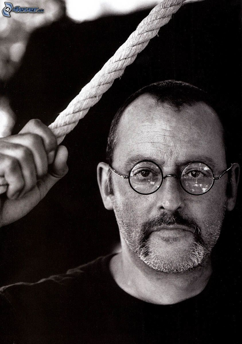 Jean Reno, man with glasses, black and white photo, rope
