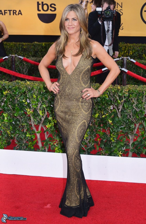 Jennifer Aniston, gold dress