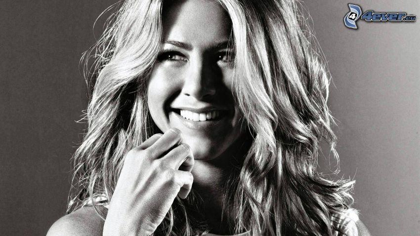 Jennifer Aniston, smile, black and white photo