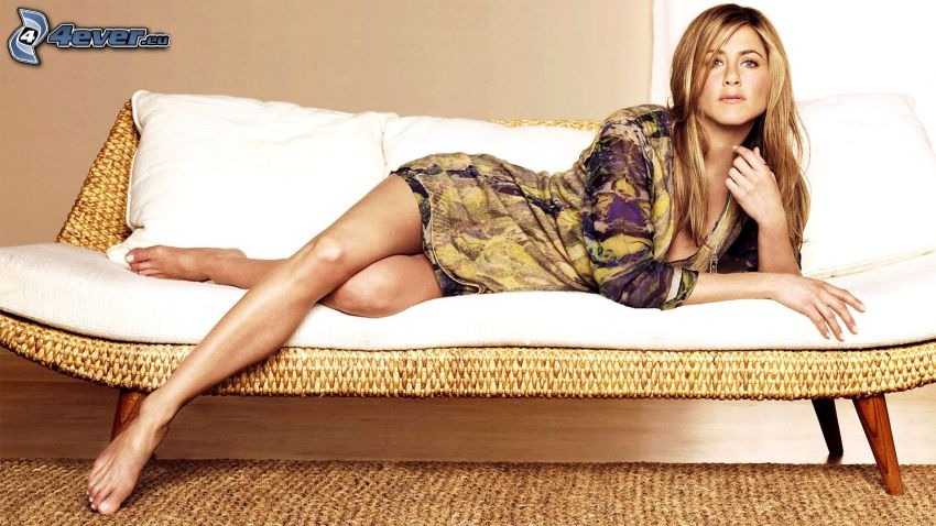 Jennifer Aniston, woman on couch