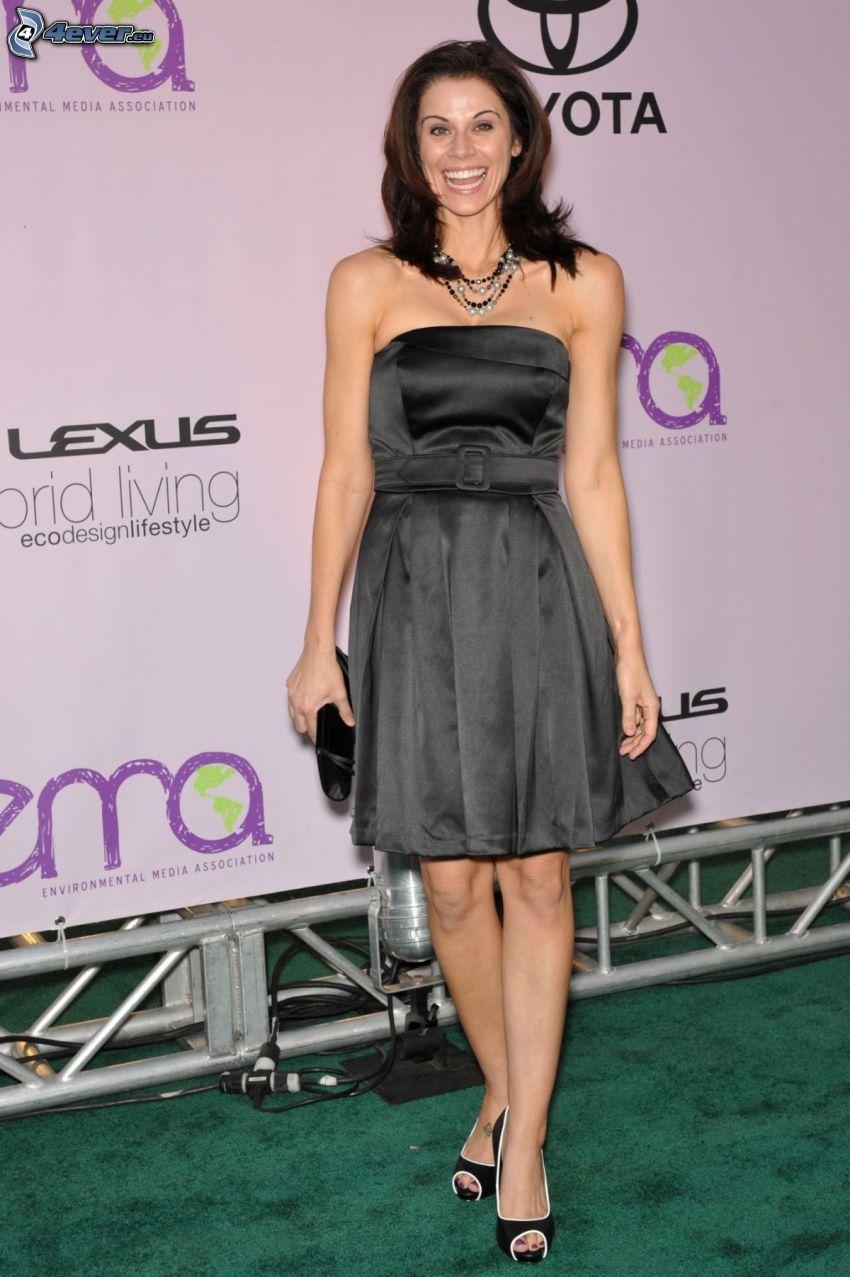 Jennifer Taylor, laughter, gray dress