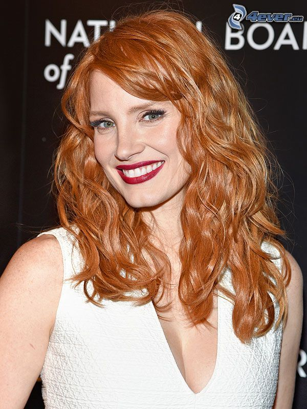 Jessica Chastain, smile, red lips