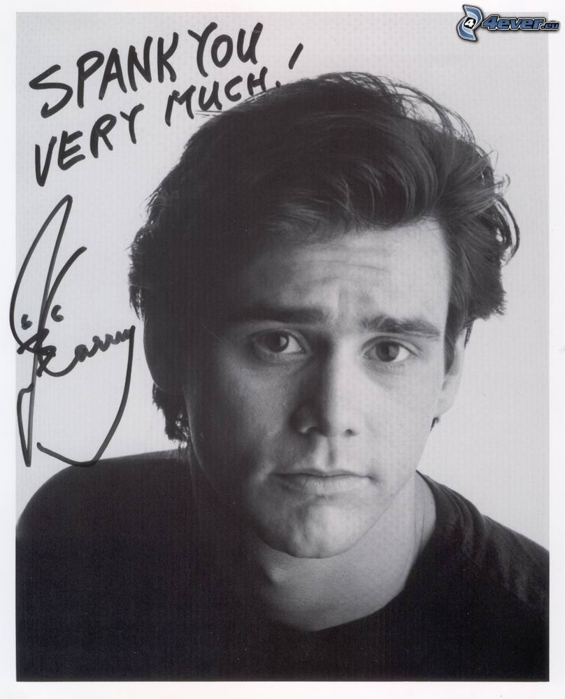 Jim Carrey, signature, black and white photo