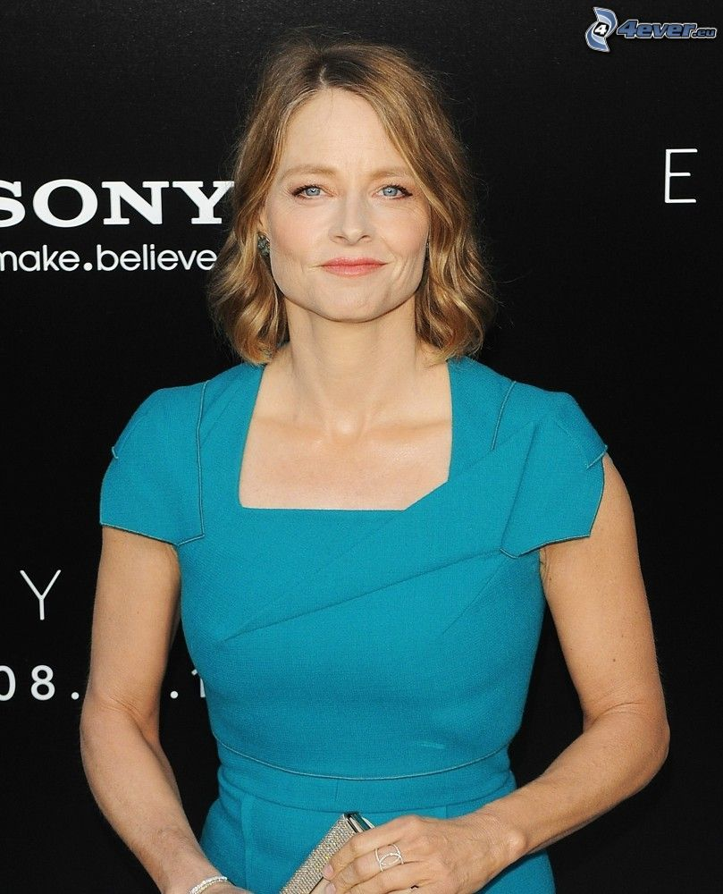 Jodie Foster, turquoise dress