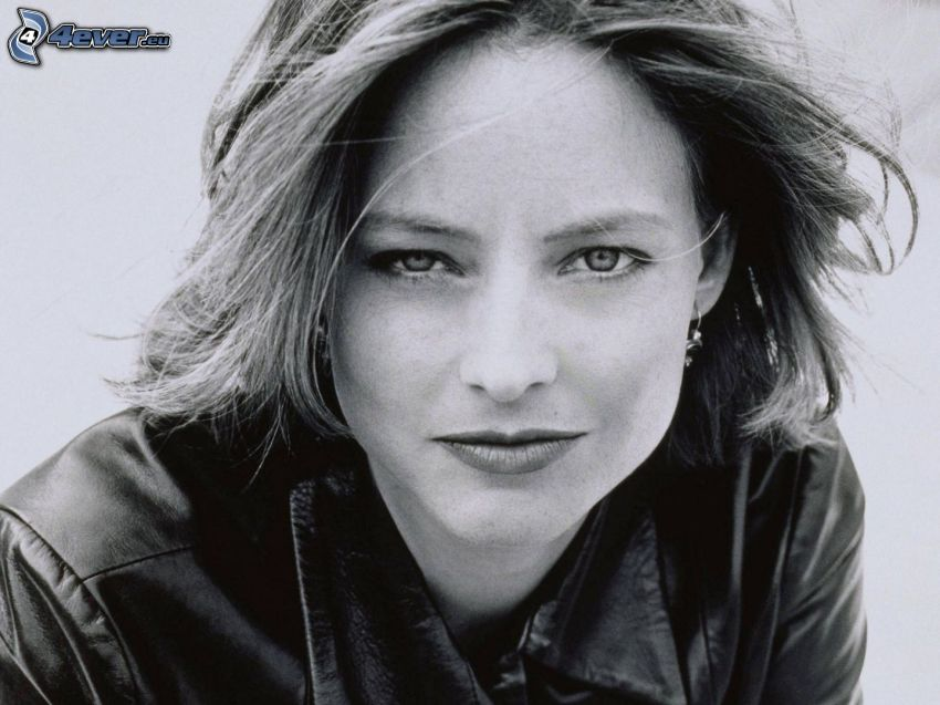 Jodie Foster, young, black and white photo