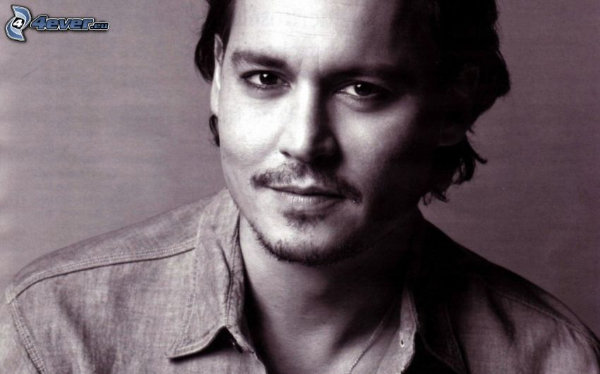 Johnny Depp, black and white photo