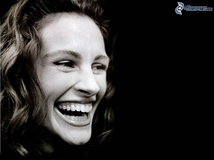 Julia Roberts, laughter, black and white photo