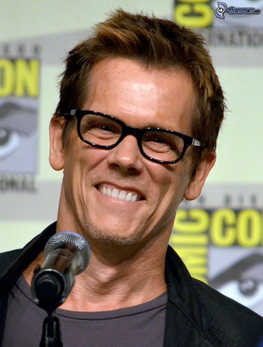 Kevin Bacon, laughter, man with glasses