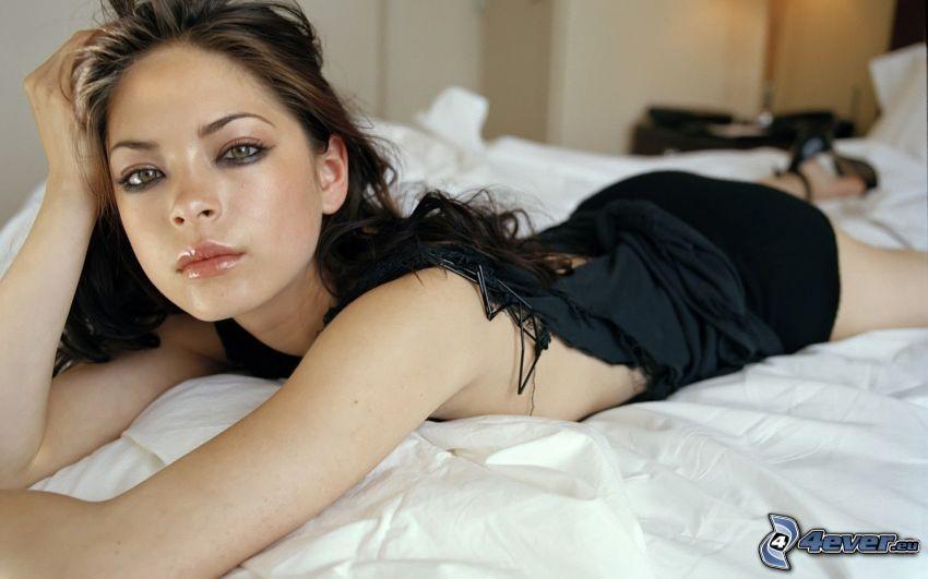 Kristin Kreuk, brunette on bed