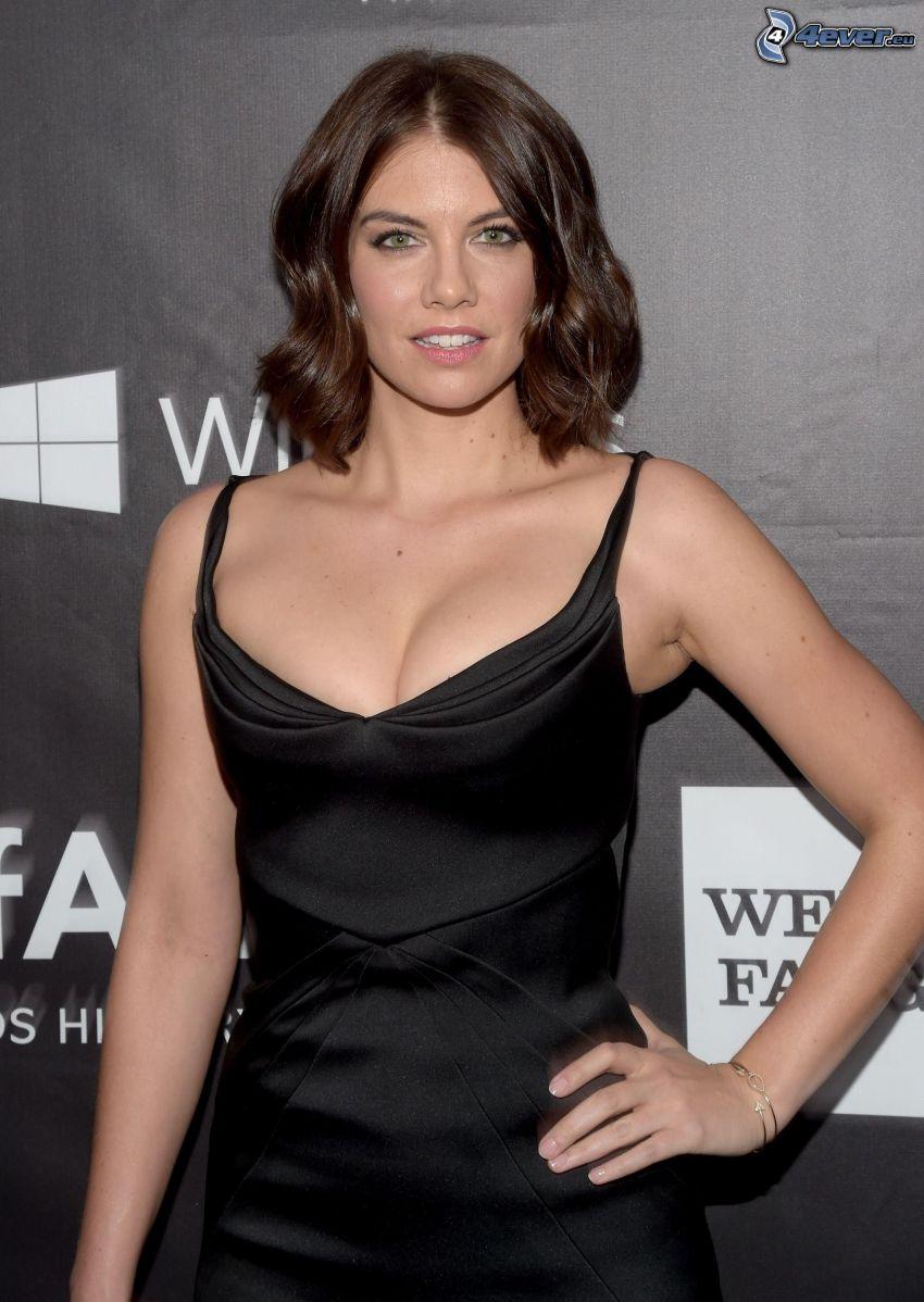 Lauren Cohan, black dress