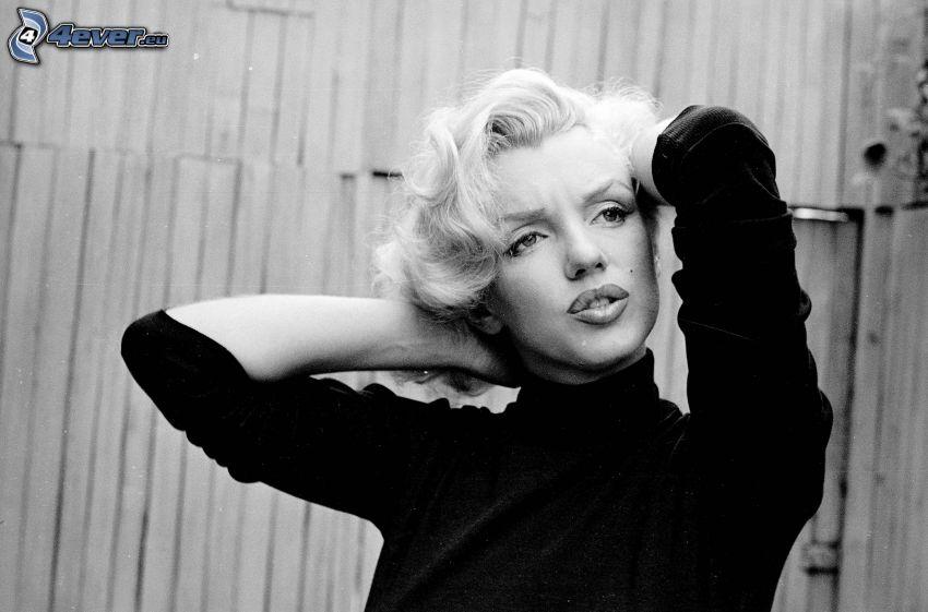 Marilyn Monroe, black and white photo