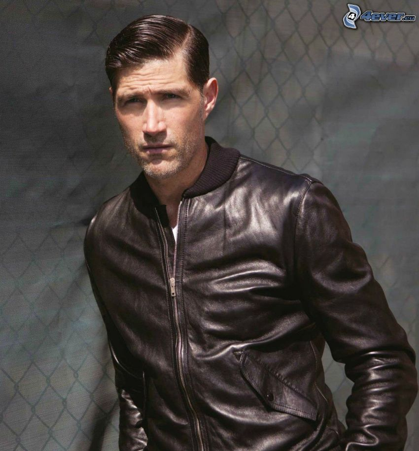 Matthew Fox, leather jacket