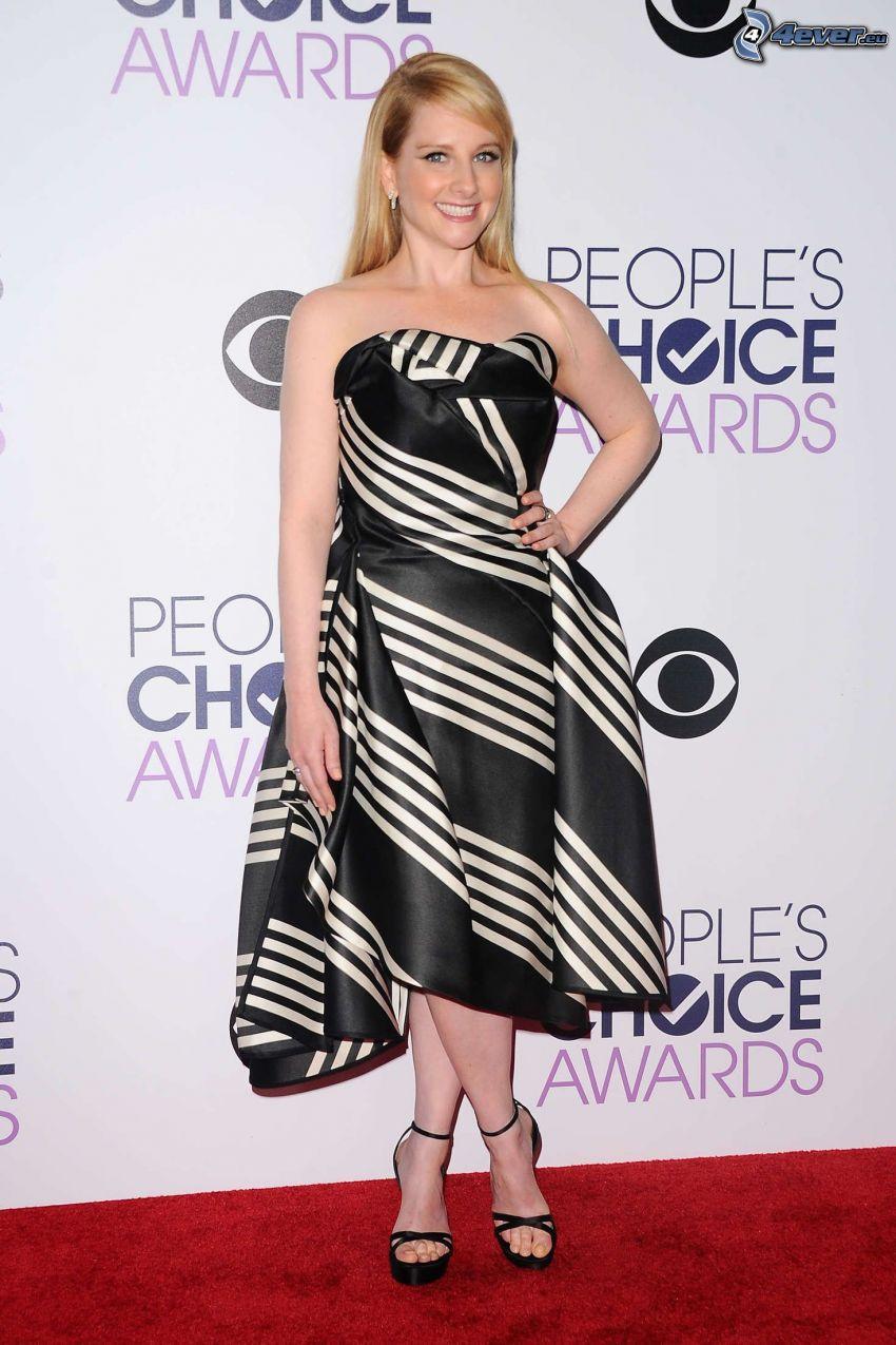 Melissa Rauch, black dress, white stripes