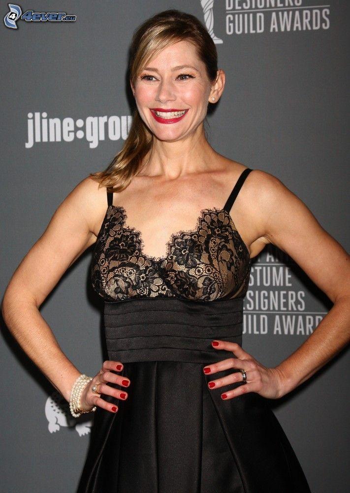 Meredith Monroe, smile, black dress