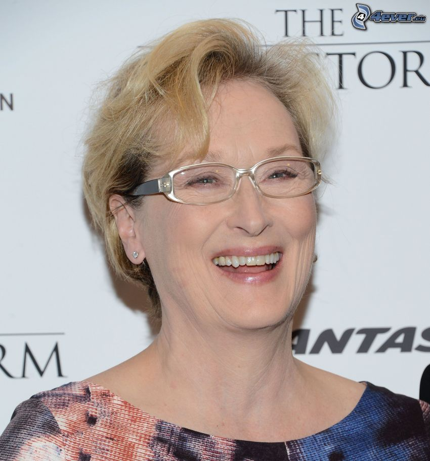 Meryl Streep, laughter, woman with glasses