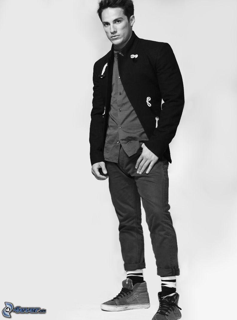 Michael Trevino, black and white photo