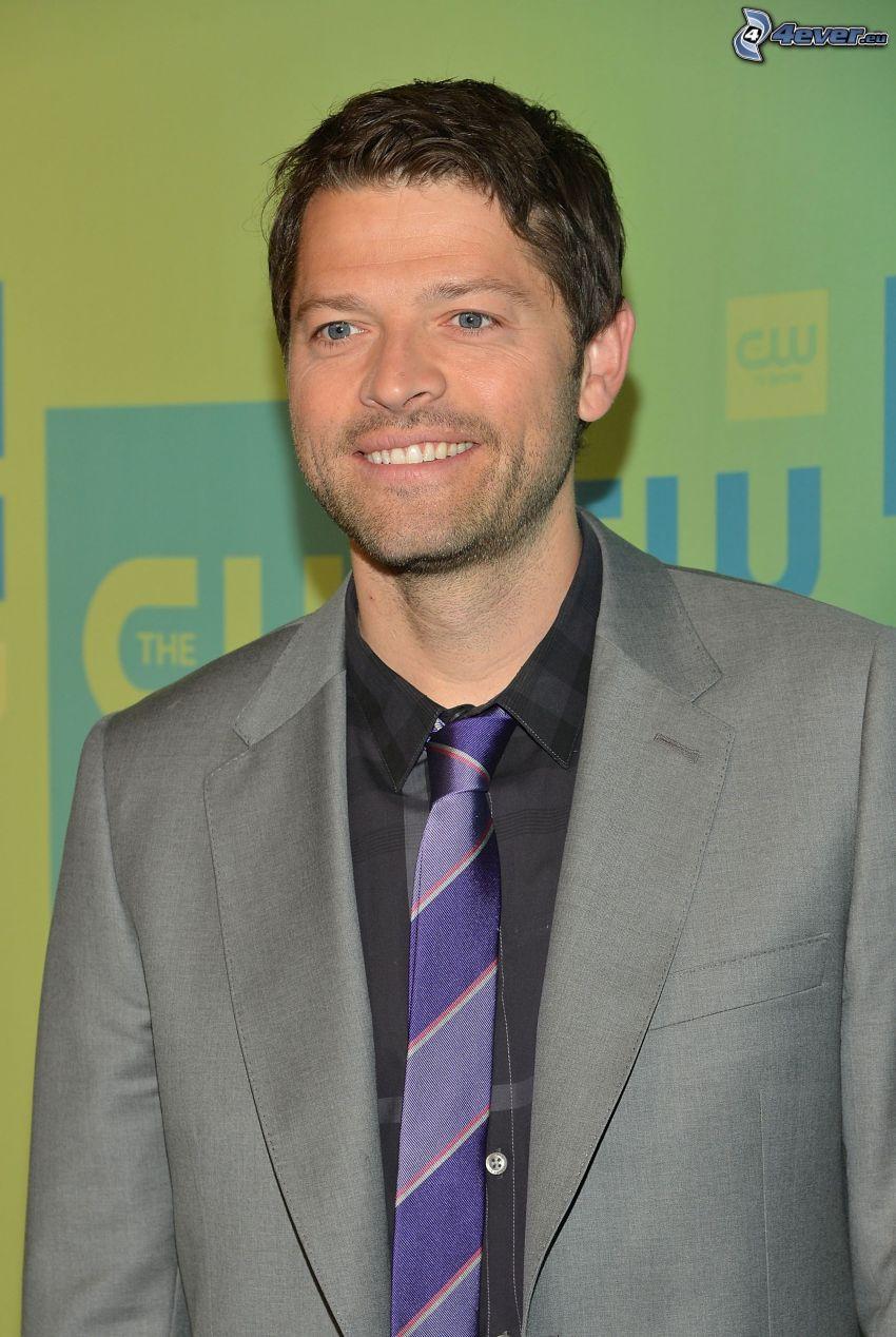 Misha Collins, smile, man in suit