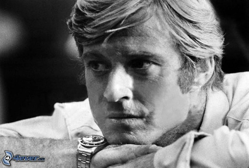Robert Redford, look, black and white photo