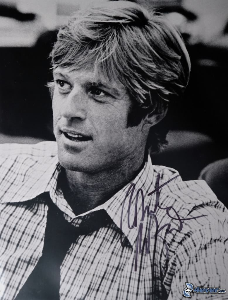 Robert Redford, young, signature, black and white photo