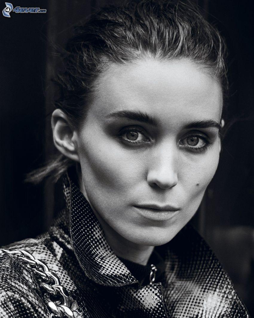 Rooney Mara, black and white photo