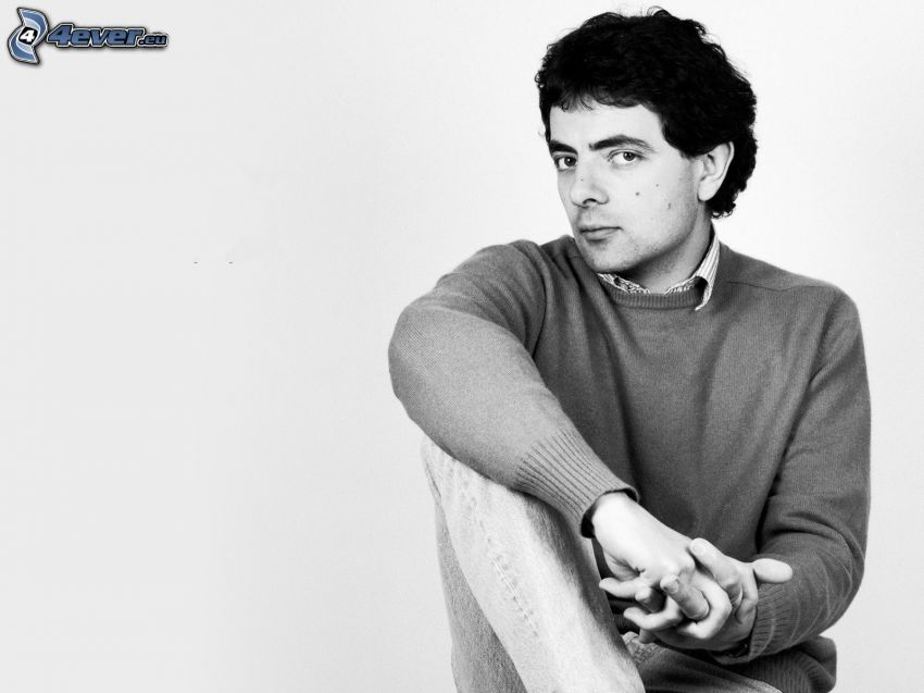 Rowan Atkinson, black and white photo