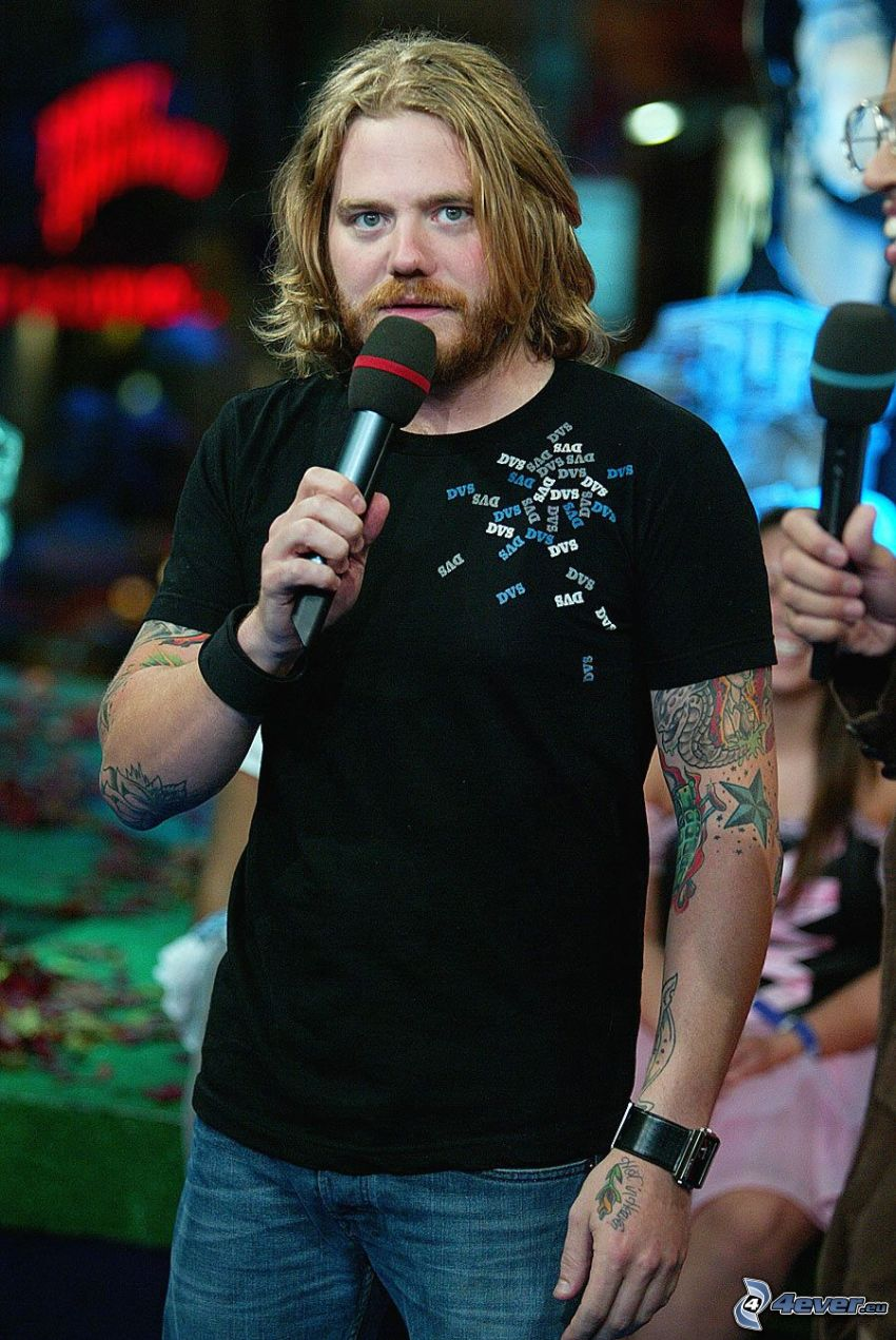 Ryan Dunn, tattooed guy, microphone