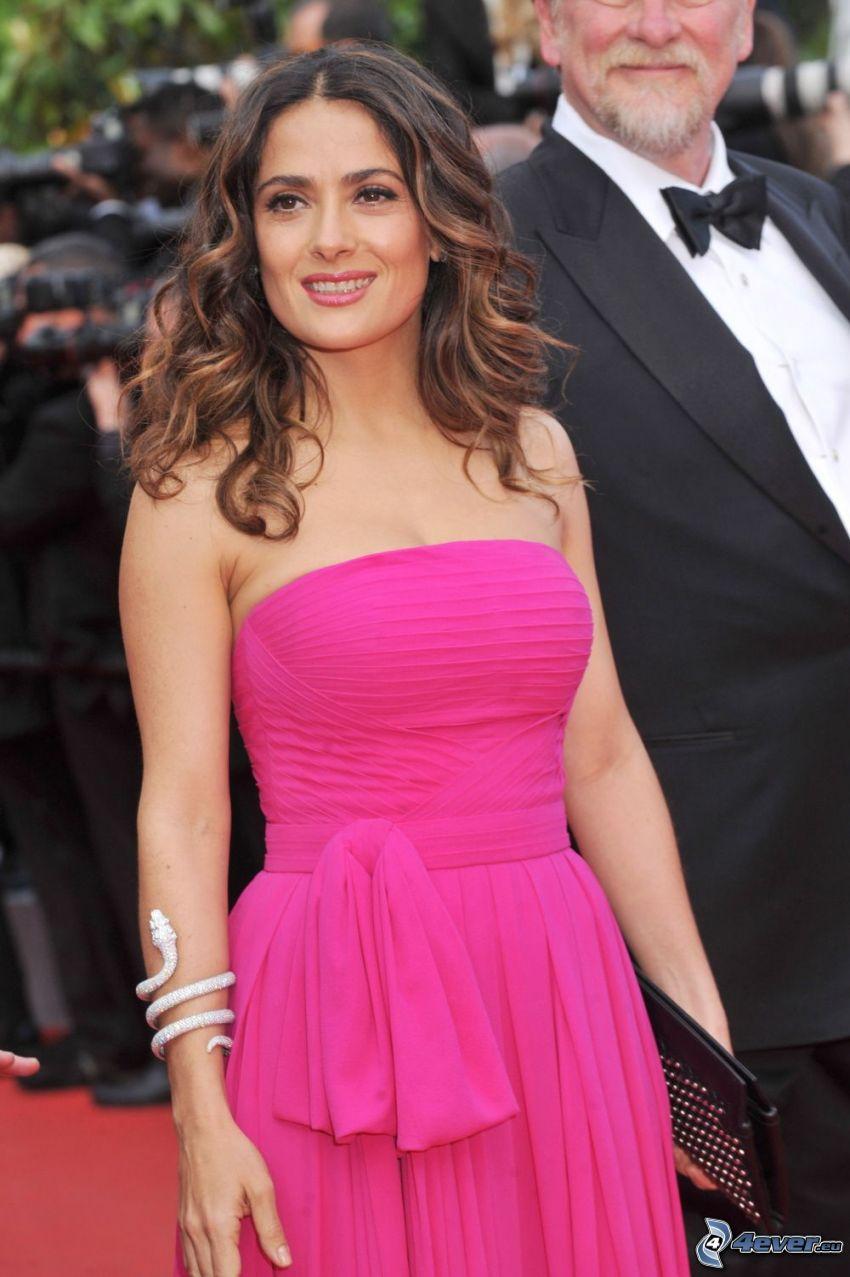 Salma Hayek, pink dress