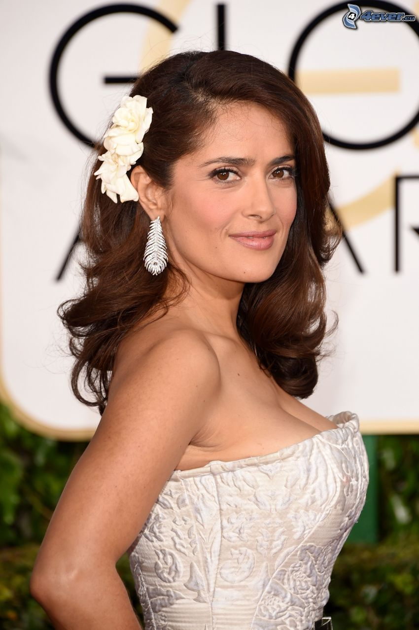 Salma Hayek, white dress