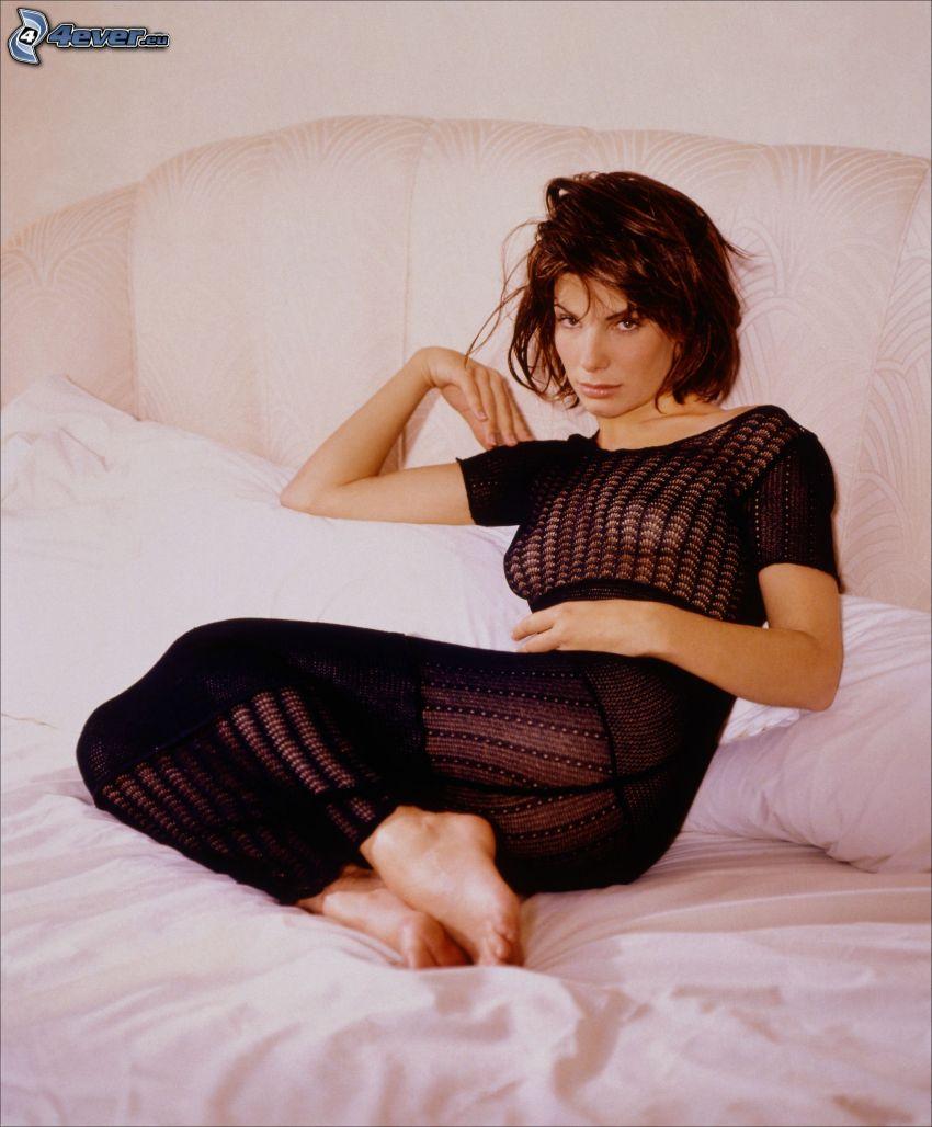 Sandra Bullock, brunette on bed