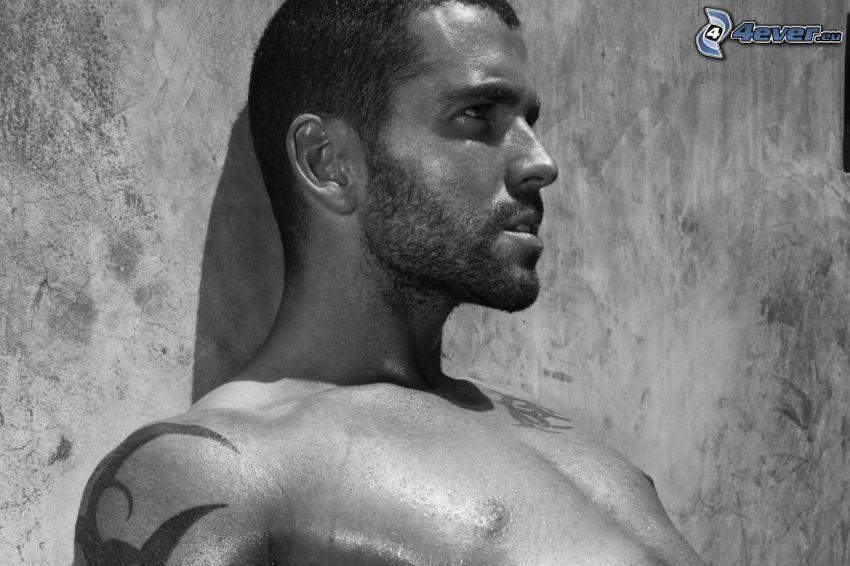 Shayne Ward, black and white photo