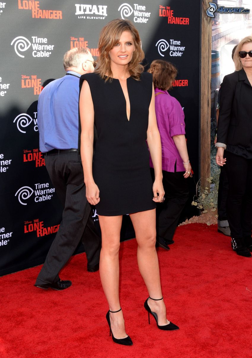 Stana Katic, black minidress