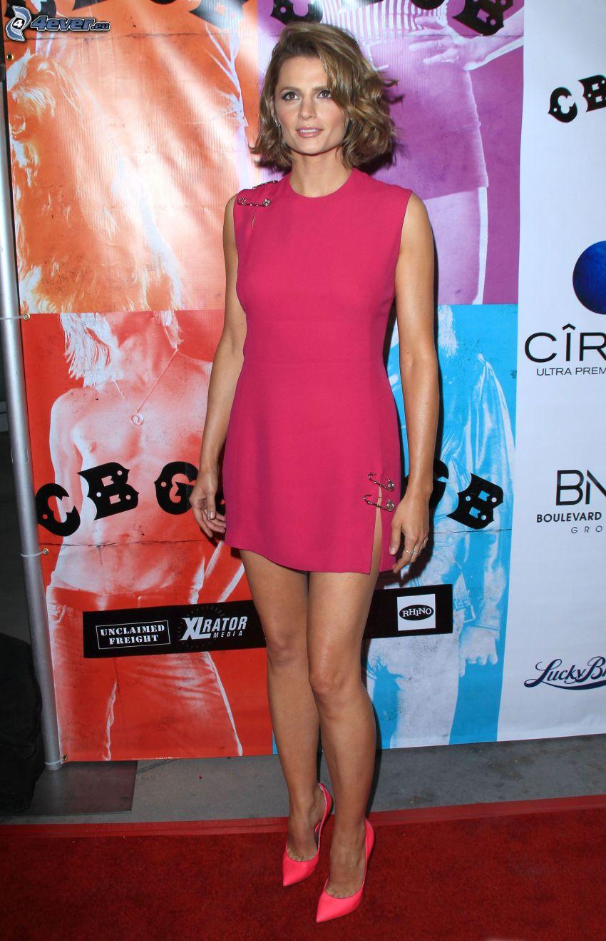 Stana Katic, pink dress