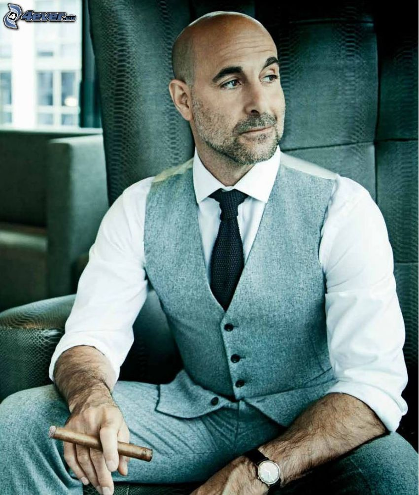 Stanley Tucci, cigars, suit
