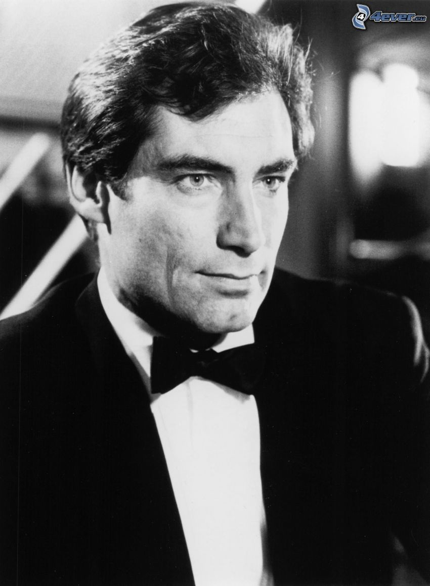 Timothy Dalton, man in suit, young, black and white photo