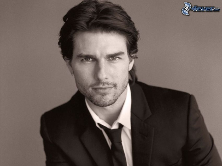 Tom Cruise, man in suit, black and white photo