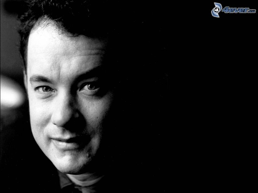 Tom Hanks, black and white photo