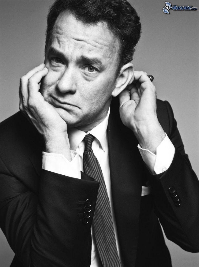 Tom Hanks, man in suit, black and white photo