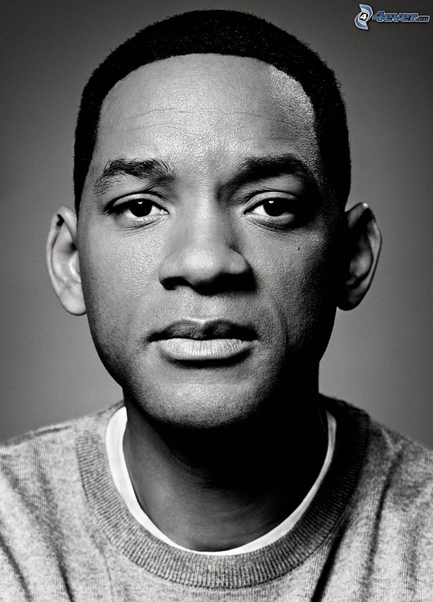 Will Smith, black and white photo