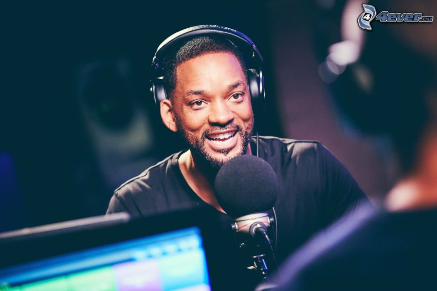 Will Smith, laughter, microphone, headphones
