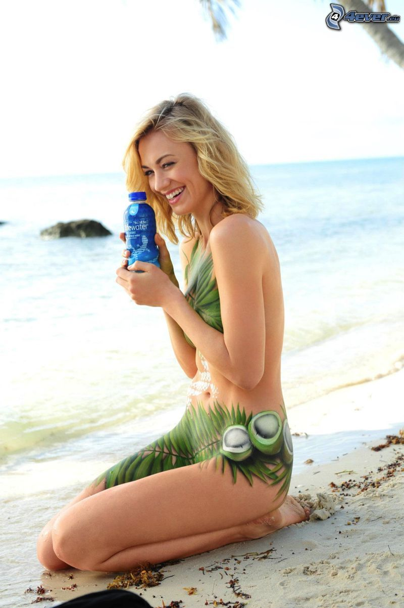 Yvonne Strahovski, laughter, bodypainting, woman on the beach