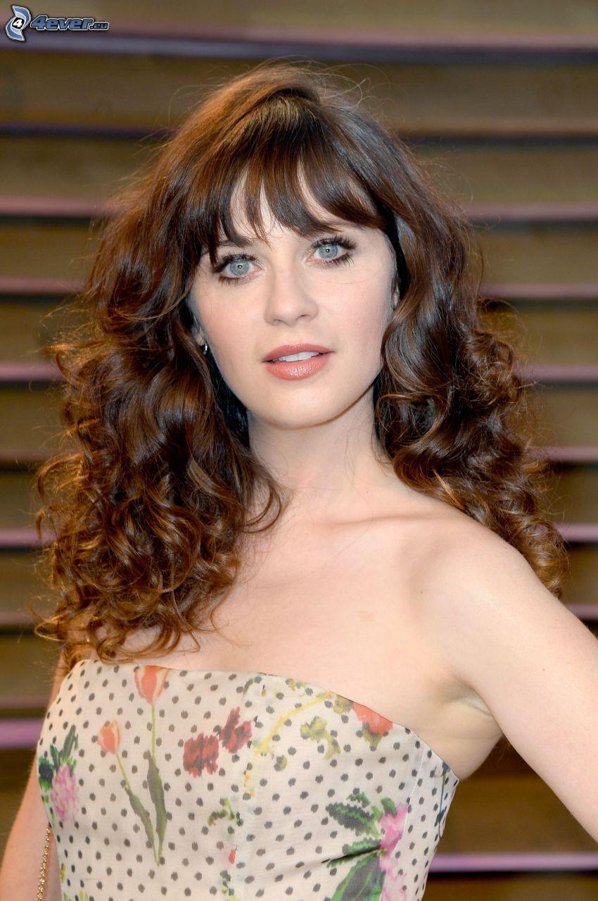 Zooey Deschanel, flowered dress, curly hair