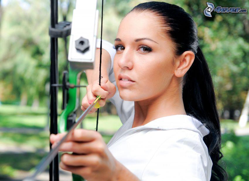 archer, black-hair, bow, arrow