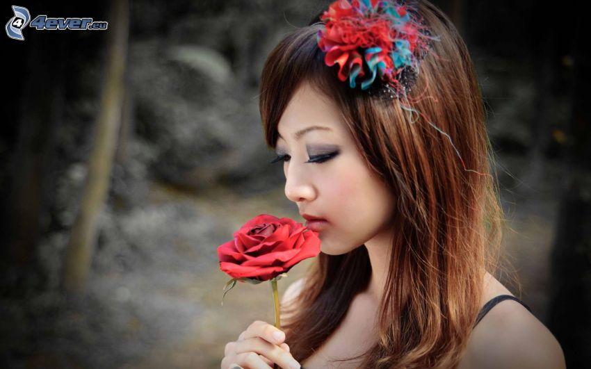 asian girl, red rose