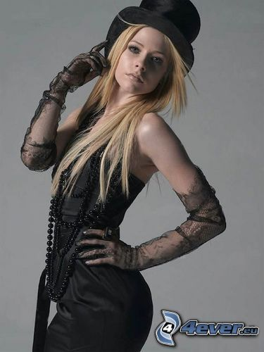 Avril Lavigne, gloves, hat