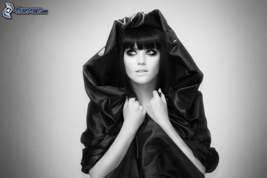 brunette, black and white photo